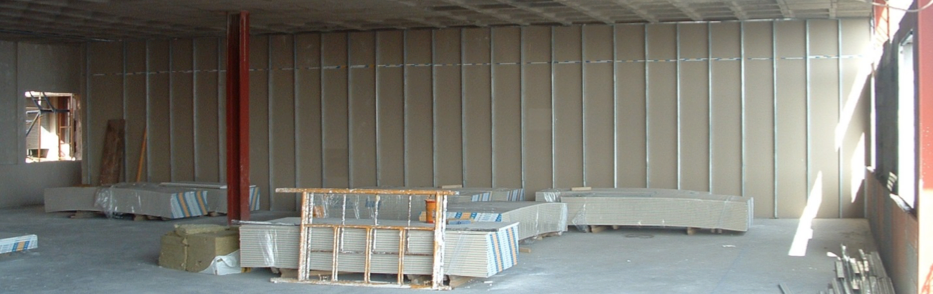 Tabiquería interior en edificio